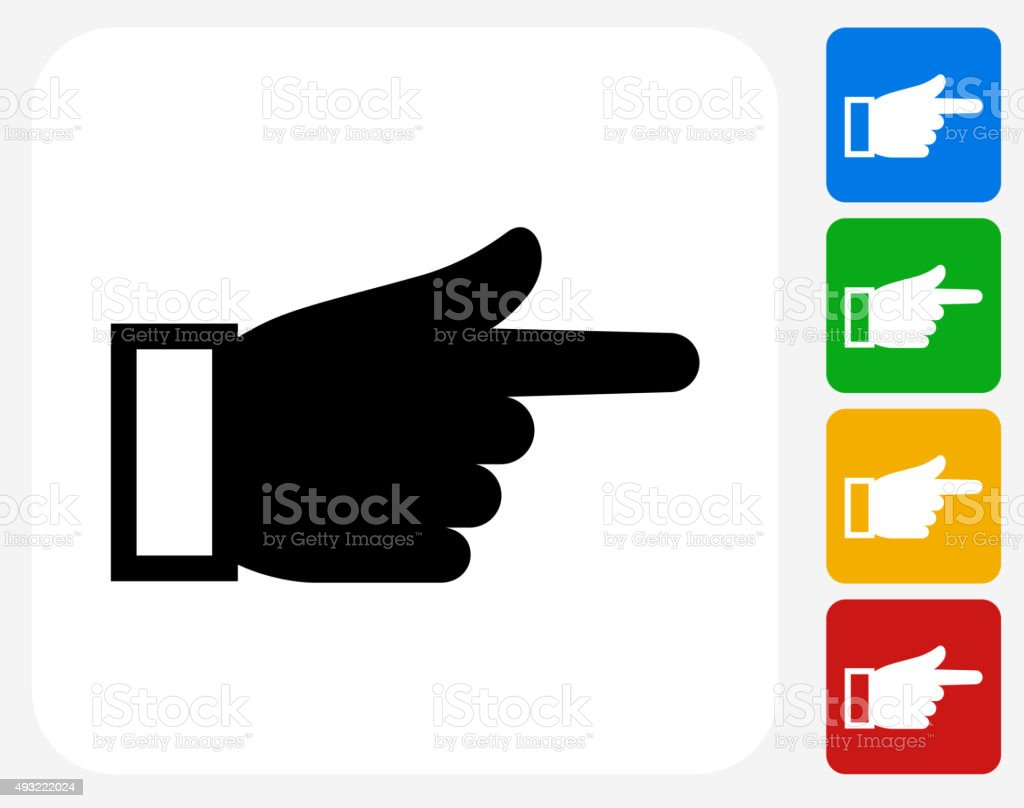 Hand Pointing Icon Flat Graphic Design vector art illustration