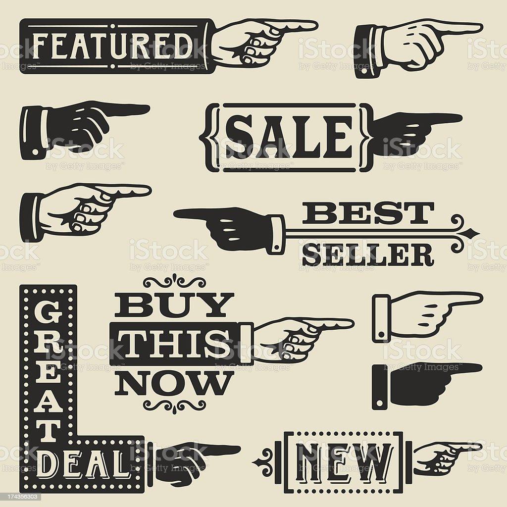 Hand Pointing Signs vector art illustration