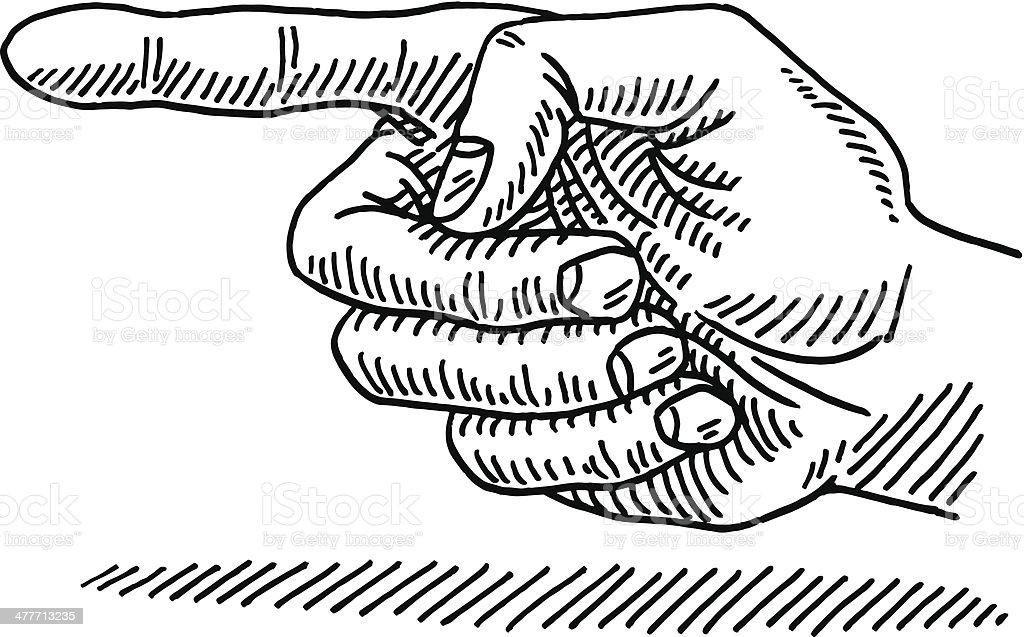 Hand Zeigt Auf Der Linken Seite Zeichnung Stock Vektor Art und mehr ...
