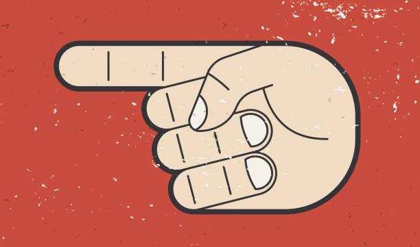 illustrazioni stock, clip art, cartoni animati e icone di tendenza di hand pointing - mancino