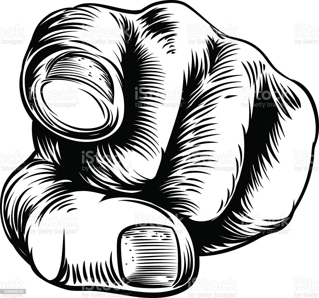 Hand Pointing Wants You Finger vector art illustration
