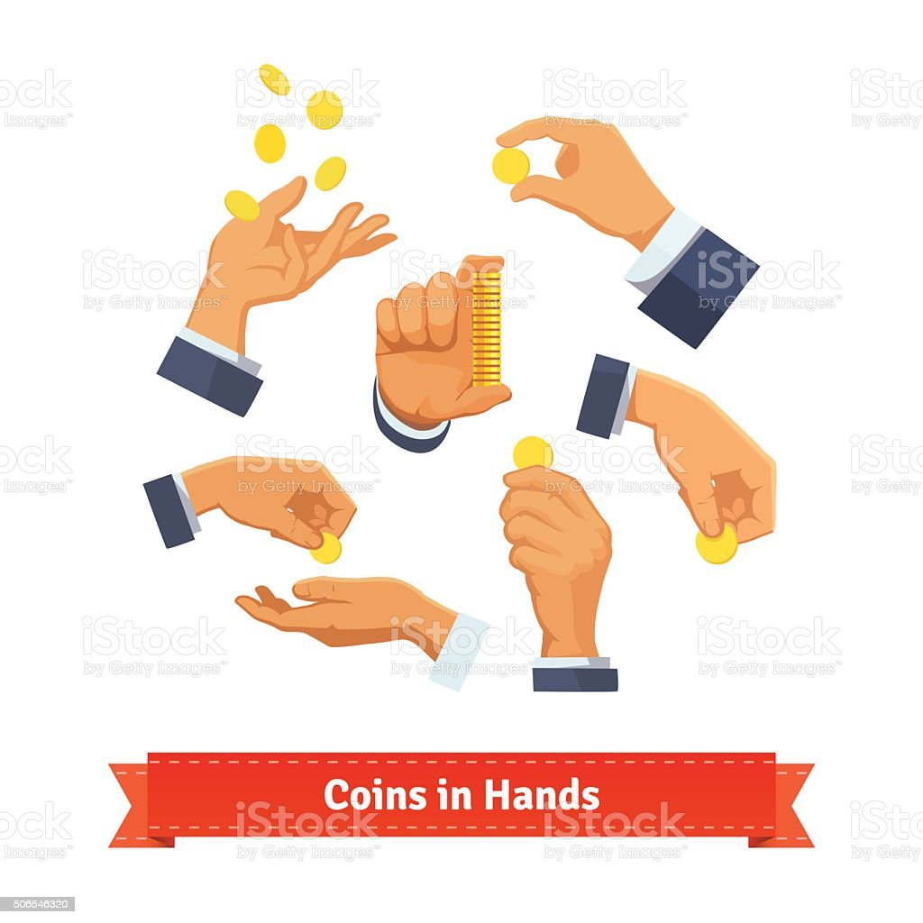Hand poses counting, giving, throwing coins vector art illustration