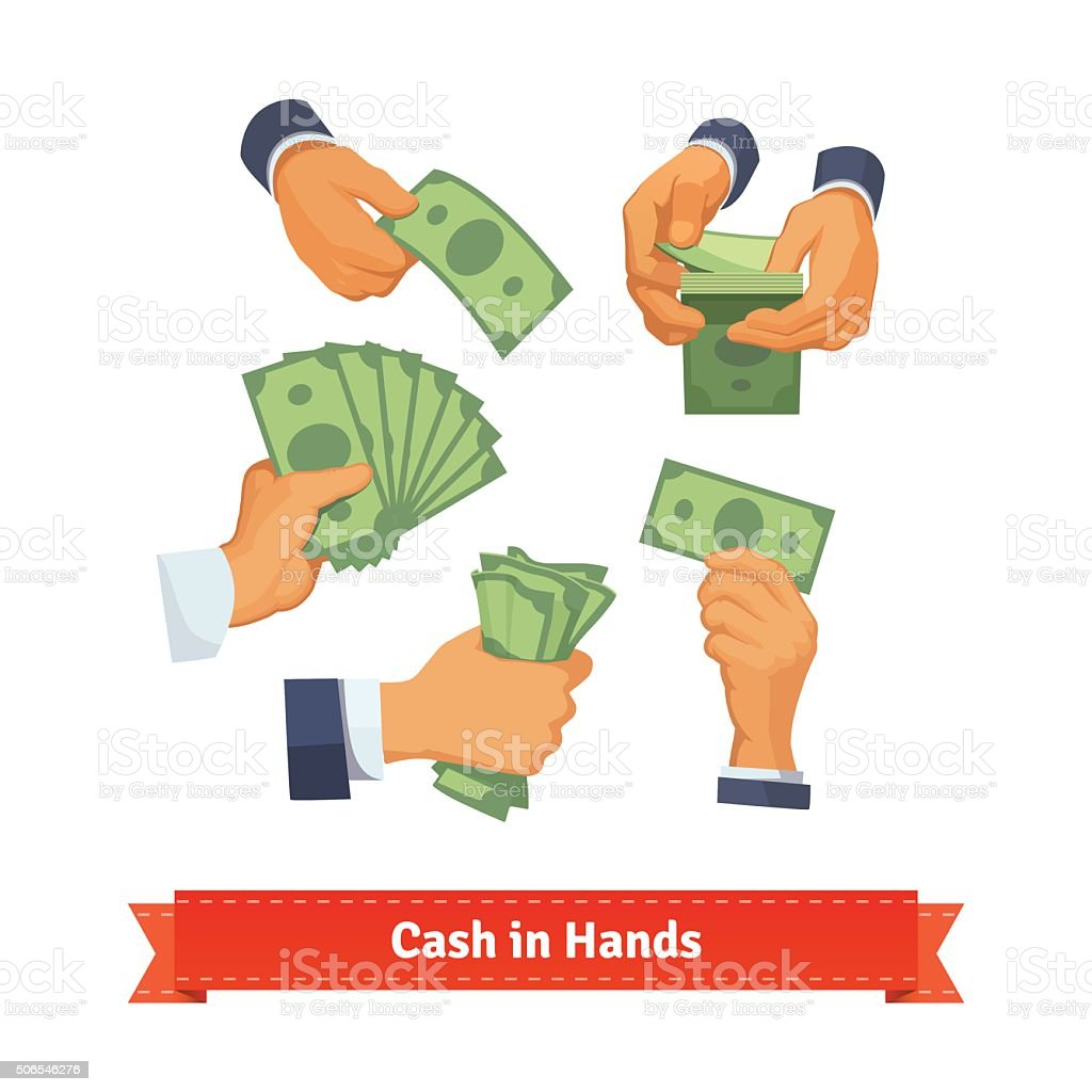 Hand poses counting, taking and showing green cash vector art illustration
