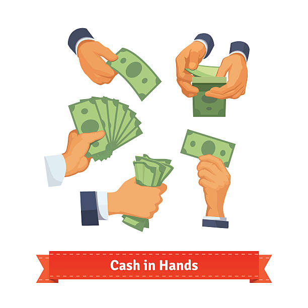 Hand poses counting, taking and showing green cash Hand poses counting, giving, taking, squeezing and showing green cash. Flat style illustration. EPS 10 vector. american one hundred dollar bill stock illustrations