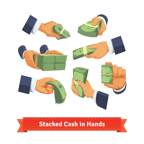 Hand poses giving, taking or showing cash stacks Hand poses giving, taking or showing green cash stacks with ribbon and rubber bands. Flat style illustration. EPS 10 vector. american one hundred dollar bill stock illustrations