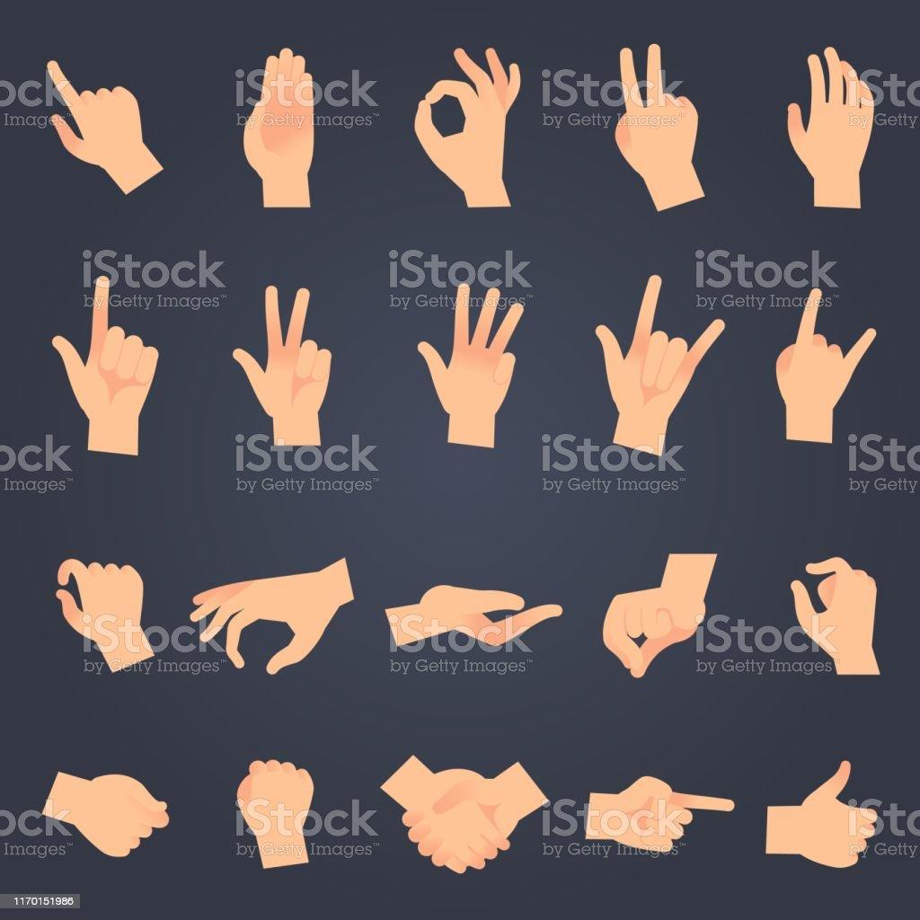 Hand positie instellen. vrouwelijke of mannelijke handen vasthouden gebaar openen o en aanraken pose vector geïsoleerde objecten - Royalty-free Aanraken vectorkunst