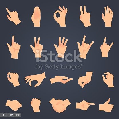 Hand position set. female or male hands holding gesture opening somethin and touching pose vector isolated showing different sign symbol objects