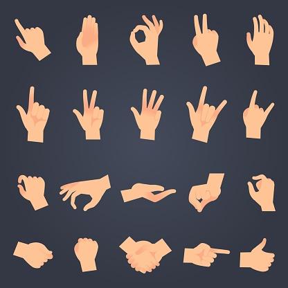 Hand Positie Instellen Vrouwelijke Of Mannelijke Handen Vasthouden Gebaar Openen O En Aanraken Pose Vector Geïsoleerde Objecten Stockvectorkunst en meer beelden van Aanraken