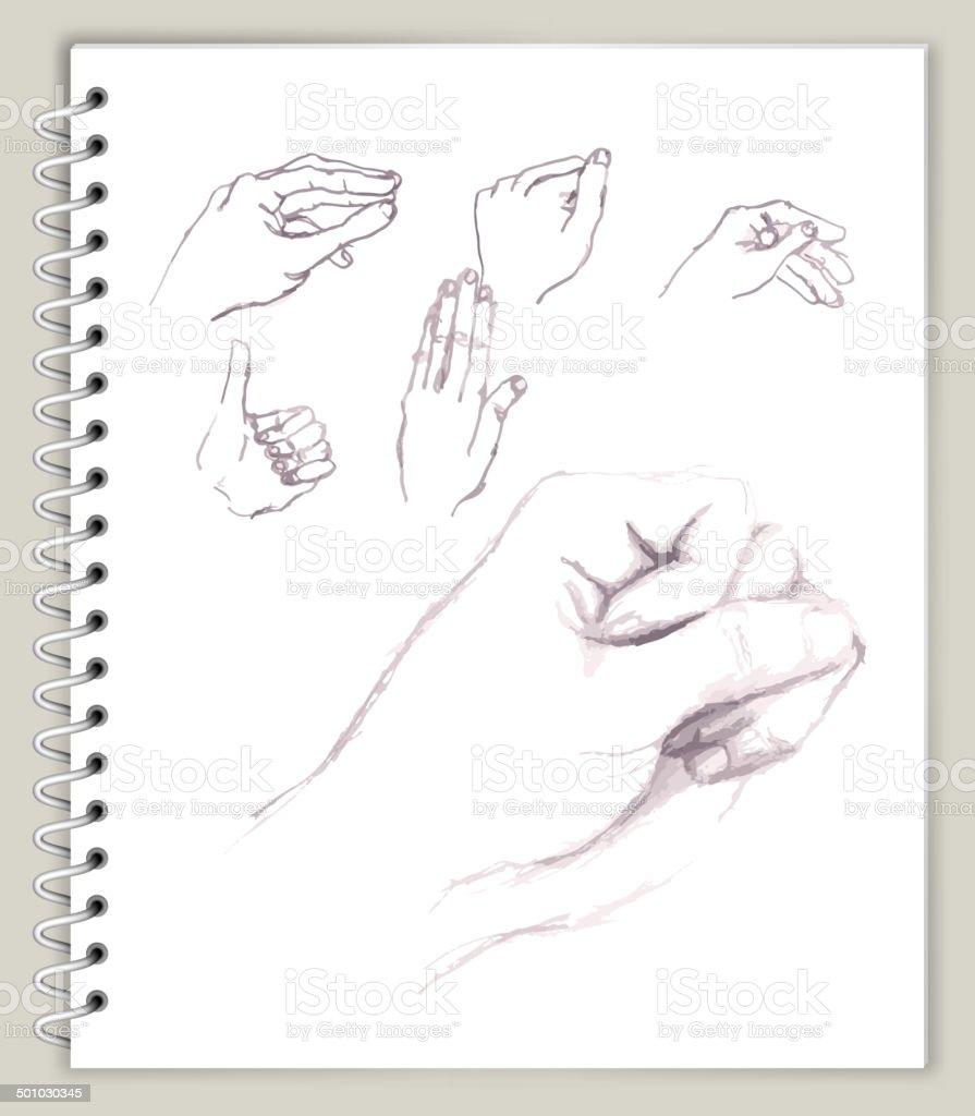 Ilustración de Posiciones De La Mano Con El Dibujo De Arte Sketcbook ...