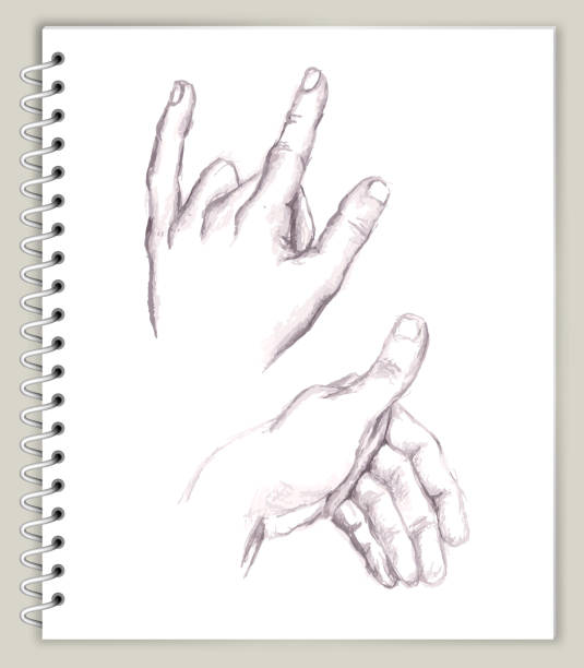 Hand Positions Drawing on Art Sketcbook royalty free vector art Hand Positions Drawing on Art Sketchbook royalty free vector art. This illustration features a pencil sketch on white paper background. The spiral sketchbook is on beige background. The line art is detailed and realistic. Icon download includes vector art and jpg file. biofeedback stock illustrations
