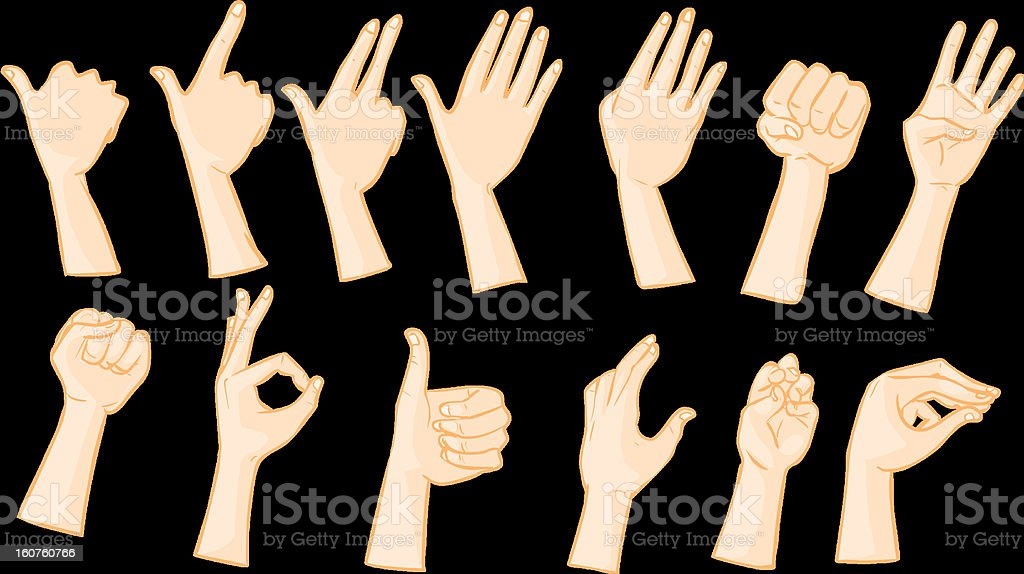 Hand postures and signs vector art illustration