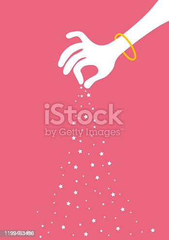 Vector Illustration of a Cartoon Hand Pouring Stars over a Pink Background. Vertical Poster Format.