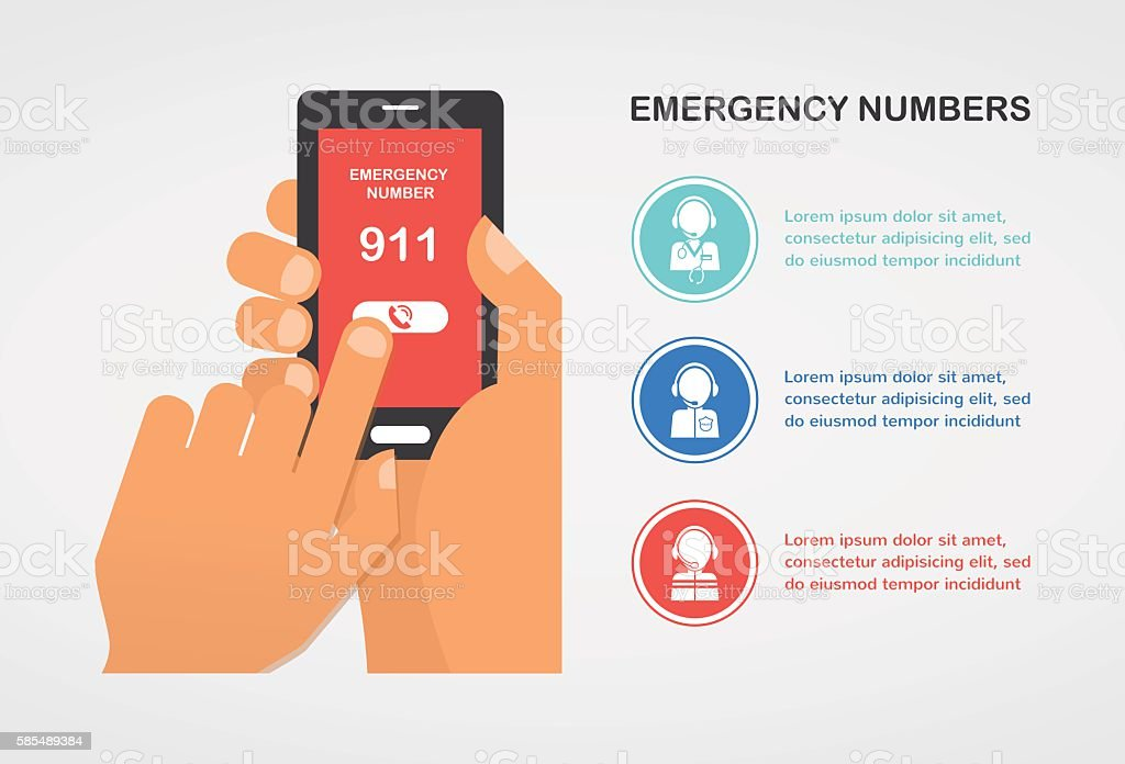 hand press emergency number 911 on a mobile phone calling vector art illustration