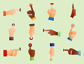 Hand press red button finger press control push pointer gesture human body part vector illustration