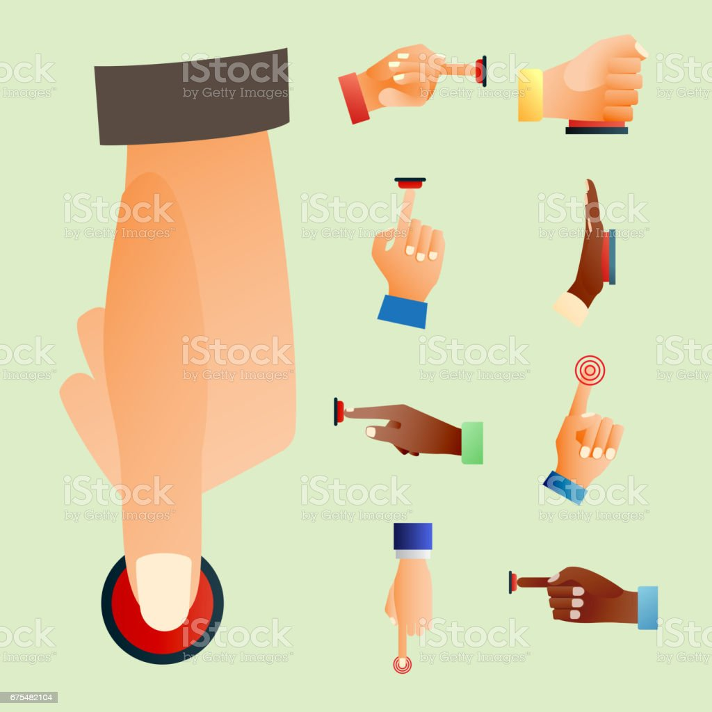 Yandan basın kırmızı düğmeye parmak basın kontrol itme işaretçi jest insan vücudu part vektör çizim royalty-free yandan basın kırmızı düğmeye parmak basın kontrol itme işaretçi jest insan vücudu part vektör çizim stok vektör sanatı & abd'nin daha fazla görseli
