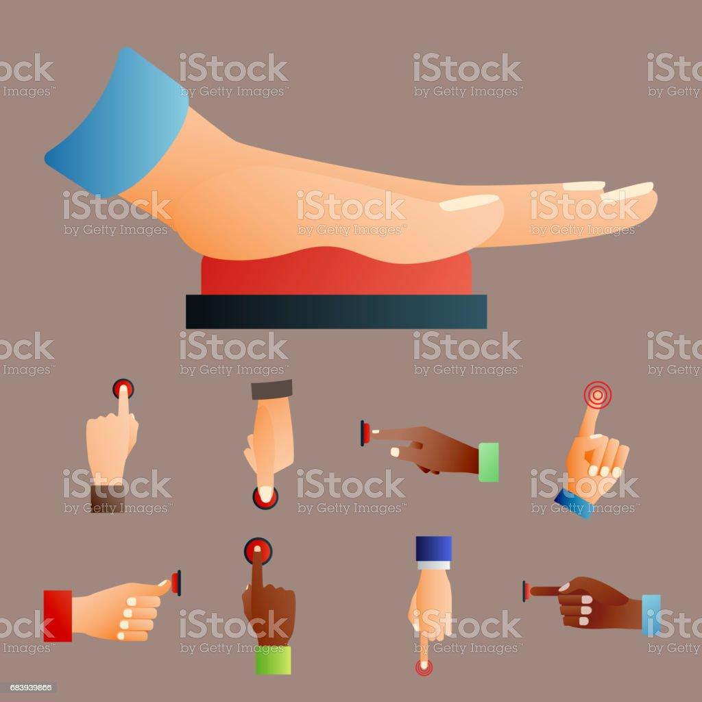 Hand Press Red Button Finger Press Control Push Pointer Gesture ...