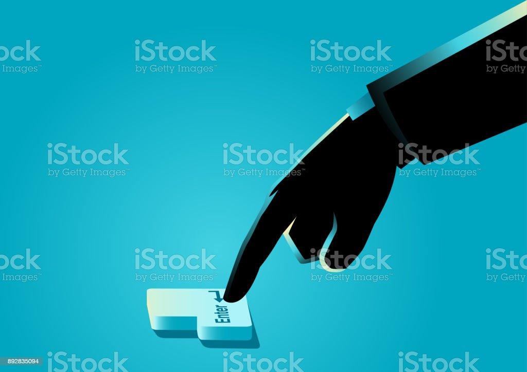 Hand pressing 'enter' button vector art illustration