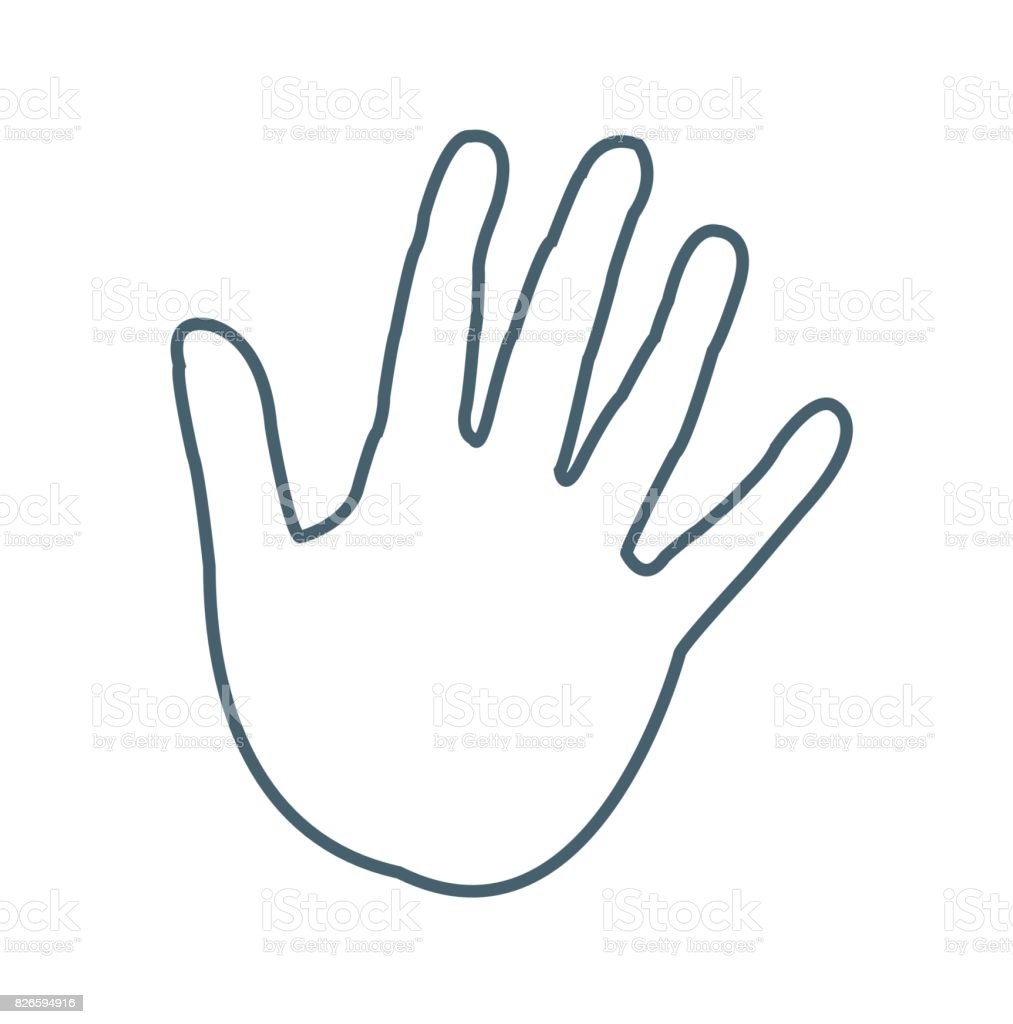 Hand Print Flat Icon Isolated On White Background Vector