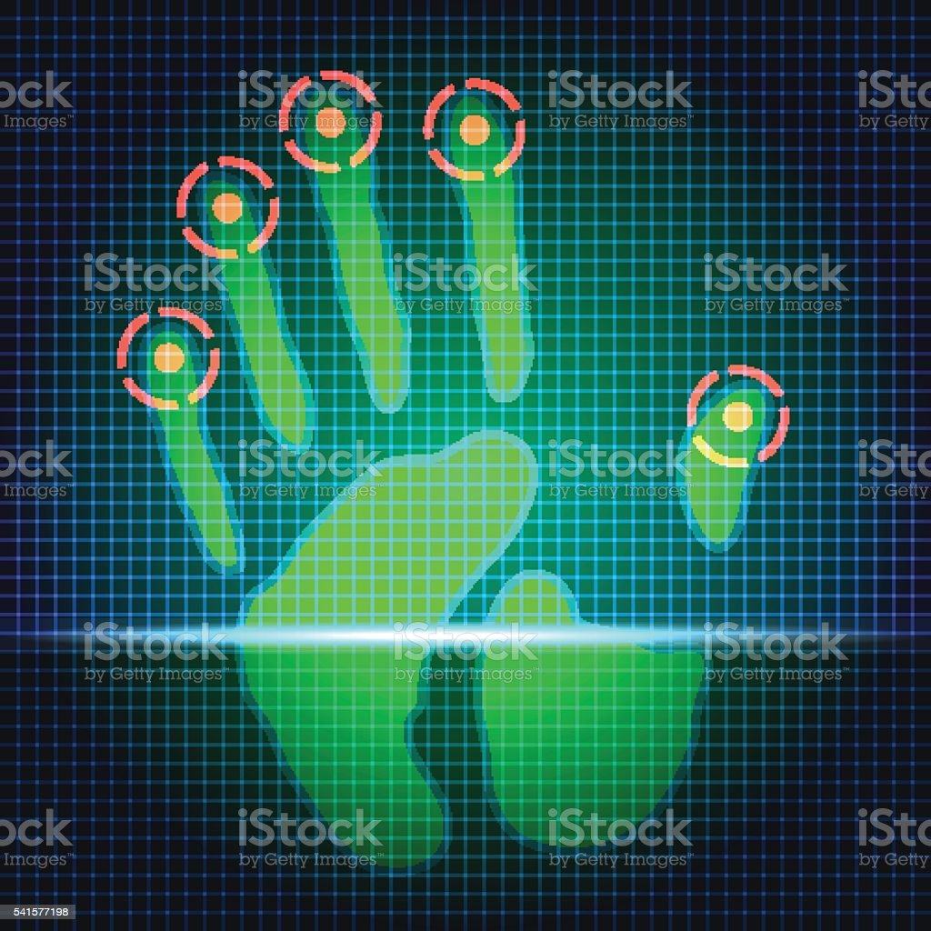 hand print scanner vector art illustration