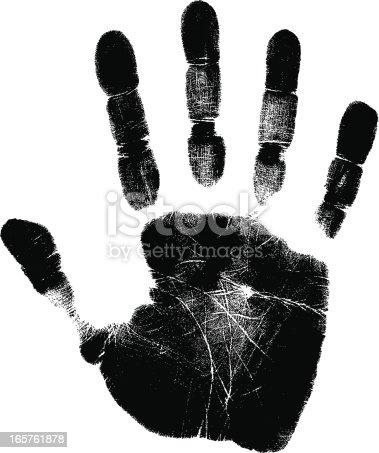 a vector black hand print.