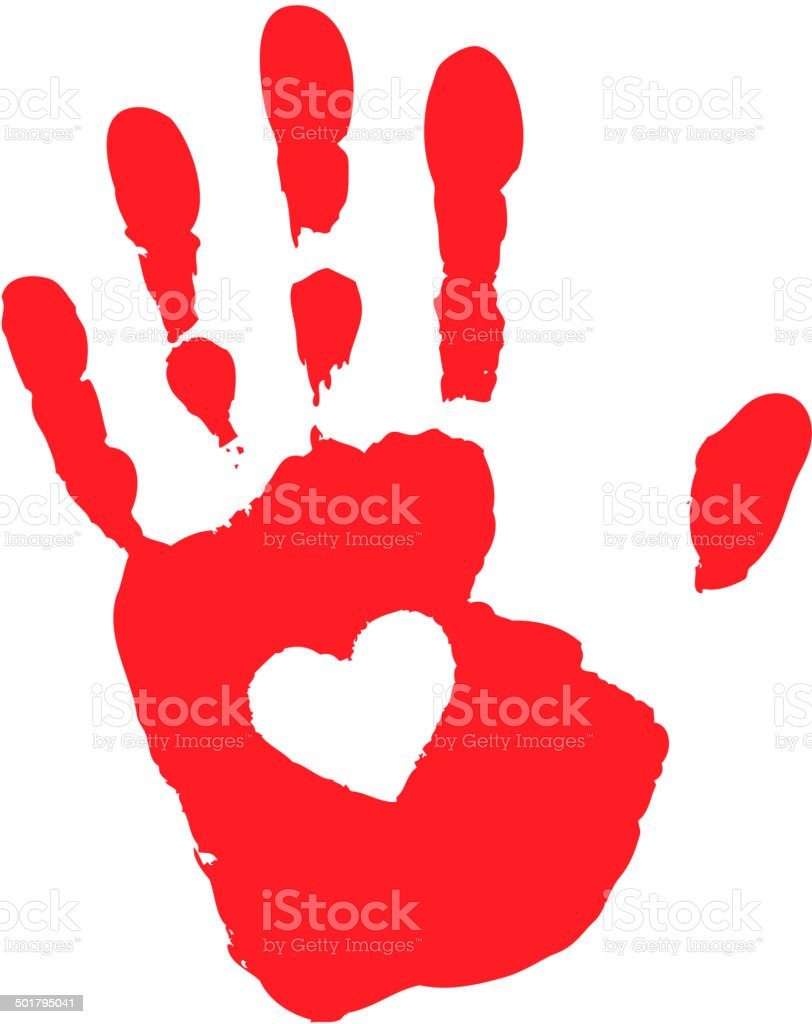 Hand print with heart icon vector art illustration