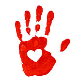 Hand print with heart icon, vector illustration