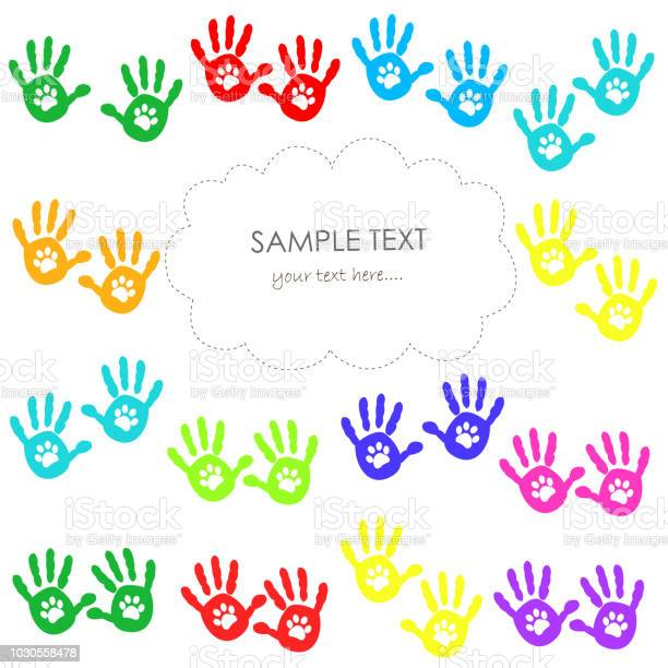 Hand print with paw print colorful greeting card vector id1030558478?b=1&k=6&m=1030558478&s=612x612&h=fn algnku4pnhbrt8 id7s7n4lhakasypdvfok5ry2c=