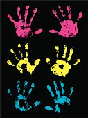 """Graphic silhouette illustrations of three sets of a child's hand print. Color changes a snap. Check out my """"Family Matters"""" light box for more."""