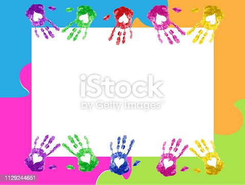 Frame with love hand prints vector image design puzzle background for your designs