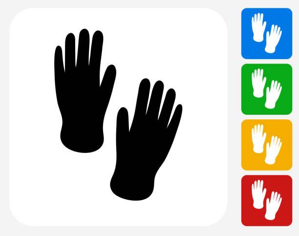 hand drucke symbol flache grafik design - schutzhandschuhe stock-grafiken, -clipart, -cartoons und -symbole