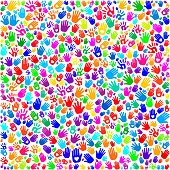 Hand Prints on Seamless Background
