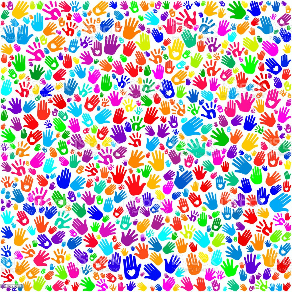 Hand Prints on Seamless Background vector art illustration