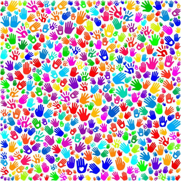 Hand Prints on Seamless Background Hand Prints on Seamless Background pattern stock illustrations