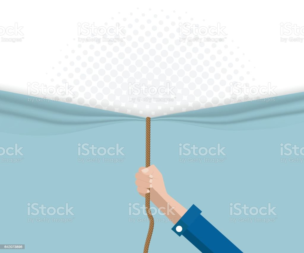 hand pull rope open half tone background vector art illustration