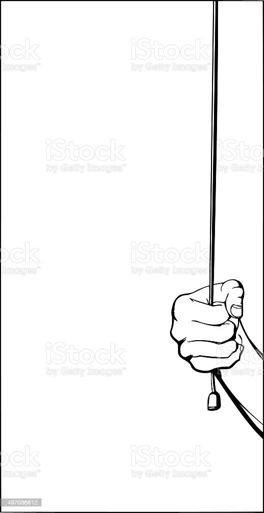 Hand Pulling Cord Outline vector art illustration