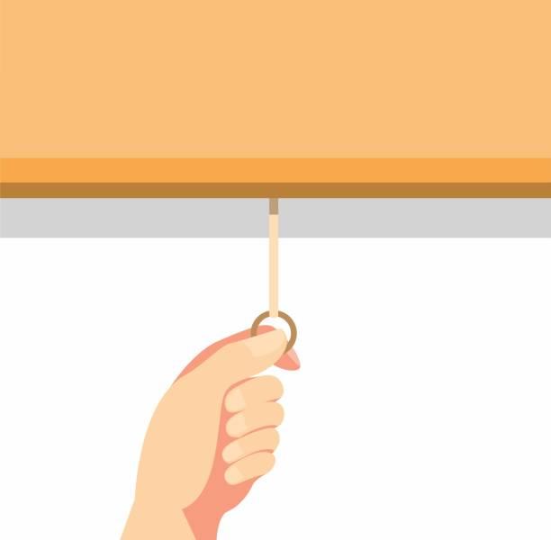ręcznie ciągnąc zasłonę rolkową lub ekran projektora w kreskówce płaskiej ilustracji wektora izolowane w białym tle - store stock illustrations