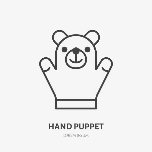 hand puppet line icon, baby soft bear toy flat logo. cute plush animal vector illustration. sign for kids shop - kukiełka stock illustrations