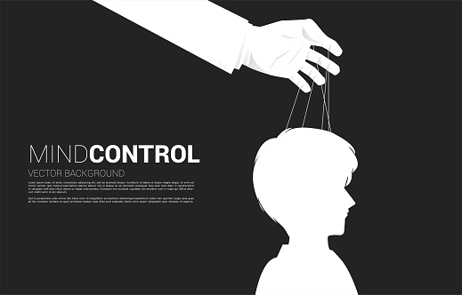 Hand Puppet Master controlling head of Silhouette of businessman.