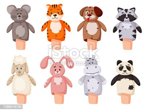 istock Hand puppet set isolated on white background 1288019730