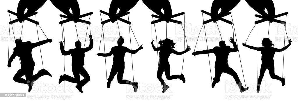 Hand puppeteer. Manipulation of people, puppets. The owner controls the subordinates. Isolated set of vector illustration - Grafika wektorowa royalty-free (Autorytet)
