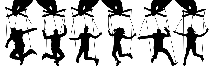 Hand Puppeteer Manipulation Of People Puppets The Owner Controls The Subordinates Isolated Set Of Vector Illustration - Stockowe grafiki wektorowe i więcej obrazów Autorytet