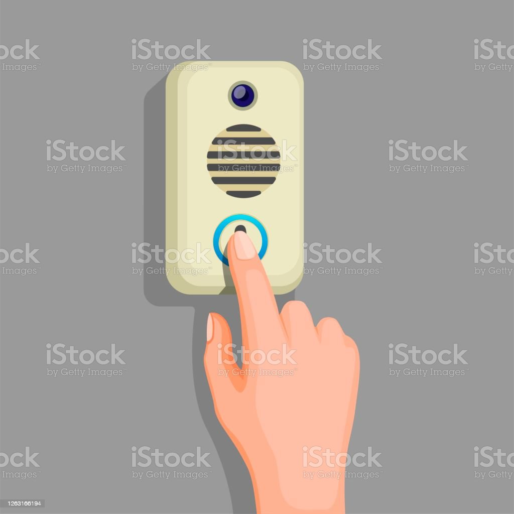 Picture of: Hand Push Doorbell Button In Wall Concept In Cartoon Illustration Vector Stock Illustration Download Image Now Istock