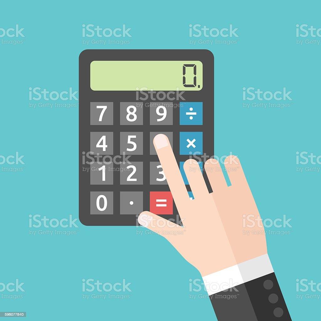 Hand pushing calculator button – Vektorgrafik