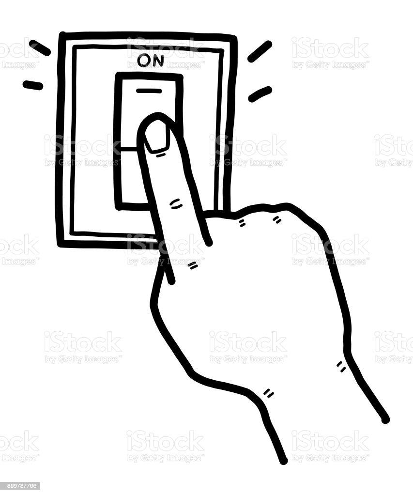 Die Hand Schob Elektrischen Schalter Stock Vektor Art und mehr ...