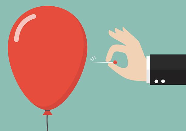 ilustrações, clipart, desenhos animados e ícones de hand pushing needle to pop the balloon - refrigerante