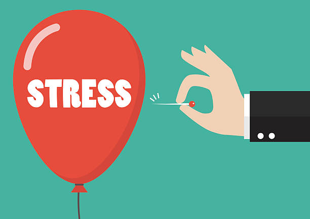 hand pushing needle to pop the stress balloon - stress stock illustrations, clip art, cartoons, & icons