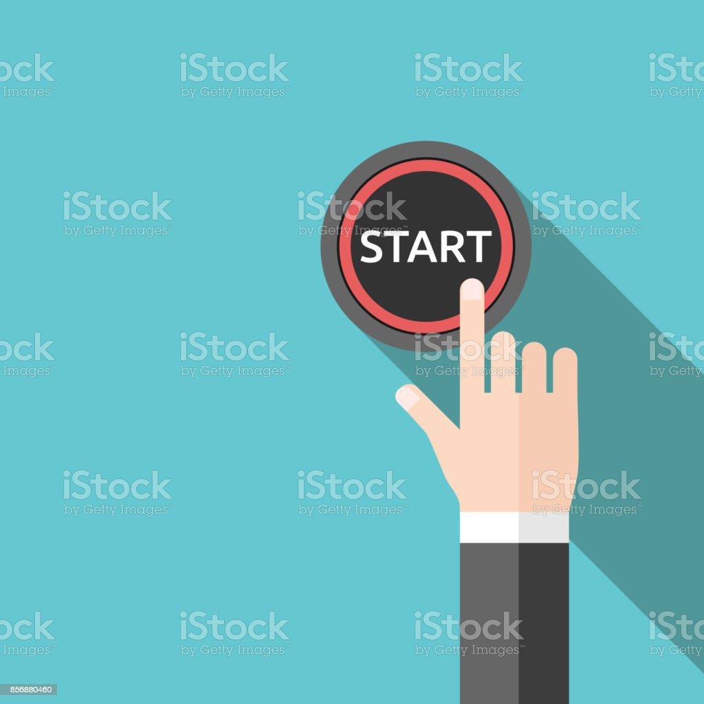 Hand schieben start-Taste – Vektorgrafik