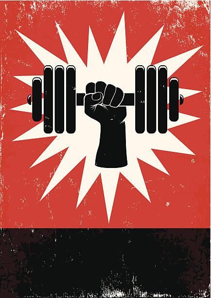 El pesa de mano empujando - ilustración de arte vectorial