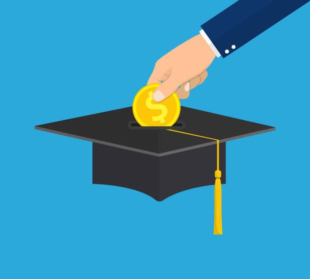 ilustraciones, imágenes clip art, dibujos animados e iconos de stock de colocar mano moneda de oro en la tapa de la graduación. - estudiar