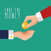 hand put money save icon design